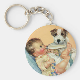 Vintage Cute Baby Boy with Bottle and Puppy Dog Keychain