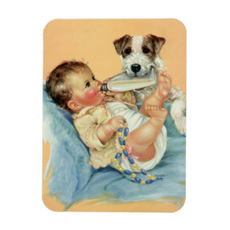 Vintage Cute Baby Boy with Bottle and Puppy Dog Magnet