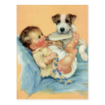Vintage Cute Baby Boy with Bottle and Puppy Dog Postcards