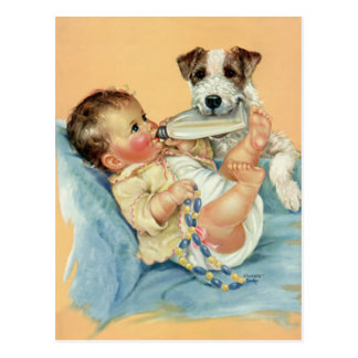 Vintage Cute Baby Boy with Bottle and Puppy Dog Postcard