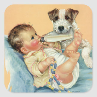 Vintage Cute Baby Boy with Bottle and Puppy Dog Square Sticker