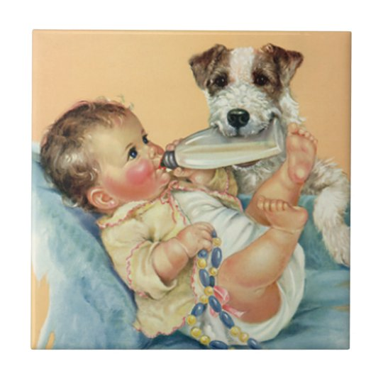 Vintage Cute Baby Boy with Bottle and Puppy Dog Tile
