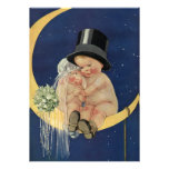 Vintage Cute Baby Bride and Groom on Crescent Moon Cards