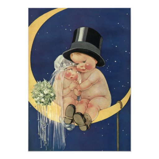 Vintage Cute Baby Bride and Groom on Crescent Moon 5x7 Paper Invitation Card
