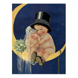 Vintage Cute Baby Bride and Groom on Crescent Moon Postcard