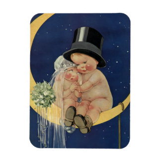 Vintage Cute Baby Bride and Groom on Crescent Moon Magnets