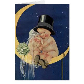 Vintage Cute Baby Bride Groom Moon Thank You Greeting Cards