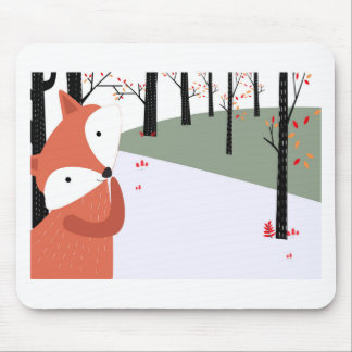 Vintage cute baby fox wolf smile happy in garden mouse pad