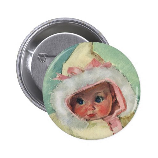 Vintage Cute Baby Girl Wearing a Faux Fur Coat 2 Inch Round Button