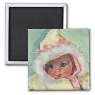 Vintage Cute Baby Girl Wearing a Faux Fur Coat 2 Inch Square Magnet