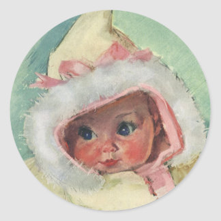 Vintage Cute Baby Girl Wearing a Faux Fur Coat Classic Round Sticker