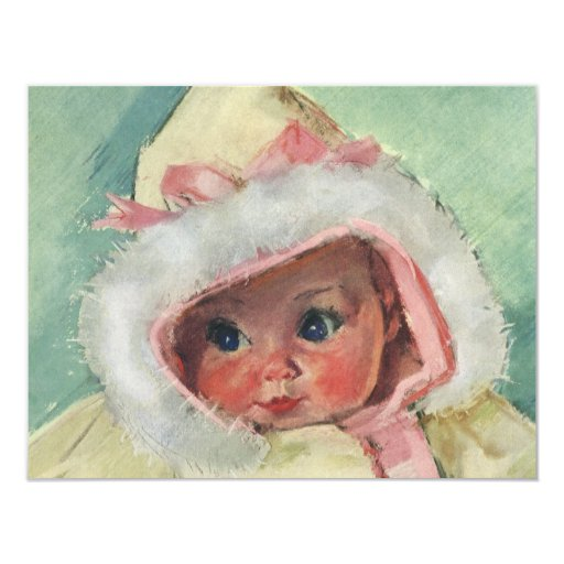 "Vintage Cute Baby Girl Wearing a Faux Fur Coat 4.25"" X 5.5"" Invitation Card"