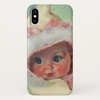 Vintage Cute Baby Girl Wearing a Faux Fur Coat iPhone X Case