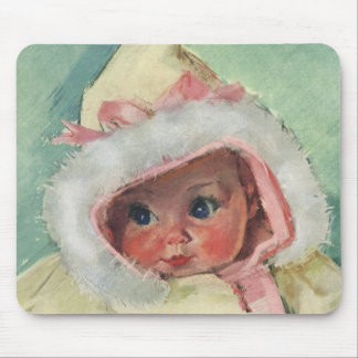 Vintage Cute Baby Girl Wearing a Faux Fur Coat Mouse Pad
