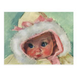 Vintage Cute Baby Girl Wearing a Faux Fur Coat Postcards