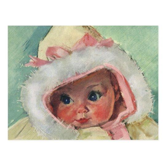 Vintage Cute Baby Girl Wearing a Faux Fur Coat Postcard