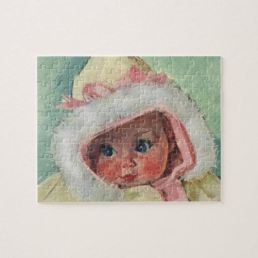 Vintage Cute Baby Girl Wearing a Faux Fur Coat Jigsaw Puzzles