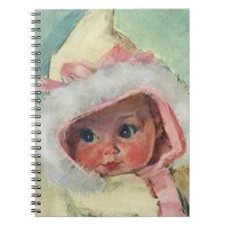 Vintage Cute Baby Girl Wearing a Faux Fur Coat Spiral Notebook