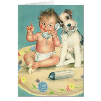 Vintage Cute Baby on Phone Puppy Dog Thank You Card