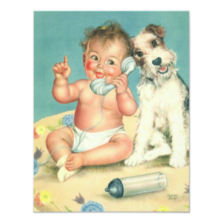 Vintage Cute Baby Phone Puppy Dog Baby Shower 4.25x5.5 Paper Invitation Card