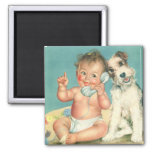Vintage Cute Baby Talking on Phone Puppy Dog 2 Inch Square Magnet