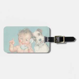 Vintage Cute Baby Talking on Phone Puppy Dog Bag Tag