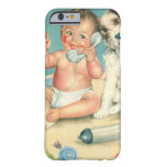 Vintage Cute Baby Talking on Phone Puppy Dog Barely There iPhone 6 Case