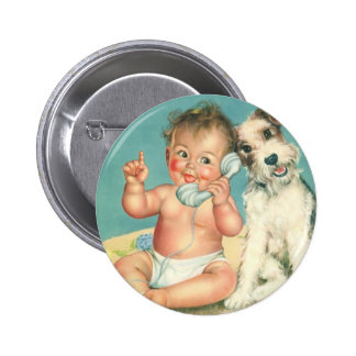 Vintage Cute Baby Talking on Phone Puppy Dog Button