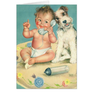Vintage Cute Baby Talking on Phone Puppy Dog Greeting Card