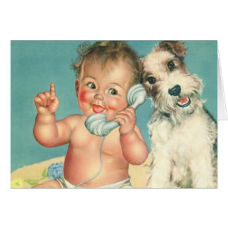 Vintage Cute Baby Talking on Phone Puppy Dog Card