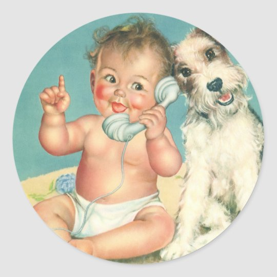Vintage Cute Baby Talking on Phone Puppy Dog Classic Round Sticker