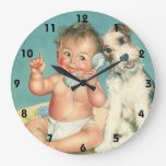 Vintage Cute Baby Talking on Phone Puppy Dog Clocks