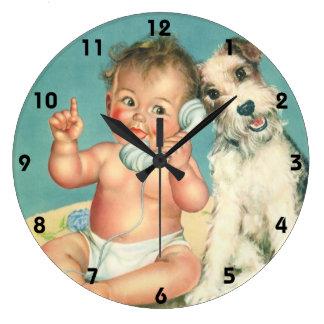 Vintage Cute Baby Talking on Phone Puppy Dog Wallclock