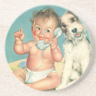 Vintage Cute Baby Talking on Phone Puppy Dog Coaster
