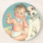 Vintage Cute Baby Talking on Phone Puppy Dog Drink Coaster