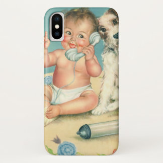 Vintage Cute Baby Talking on Phone Puppy Dog iPhone X Case