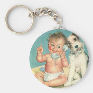 Vintage Cute Baby Talking on Phone Puppy Dog Keychain