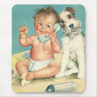 Vintage Cute Baby Talking on Phone Puppy Dog Mouse Pad