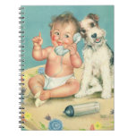 Vintage Cute Baby Talking on Phone Puppy Dog Note Book