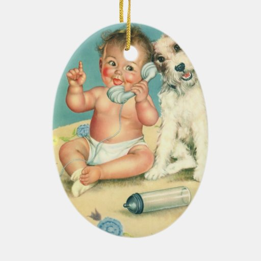 Vintage Cute Baby Talking on Phone Puppy Dog Ornament