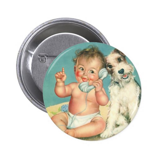 Vintage Cute Baby Talking on Phone Puppy Dog Pins