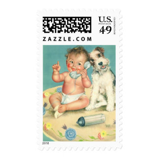 Vintage Cute Baby Talking on Phone Puppy Dog Postage Stamp