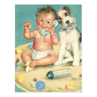 Vintage Cute Baby Talking on Phone Puppy Dog Postcard
