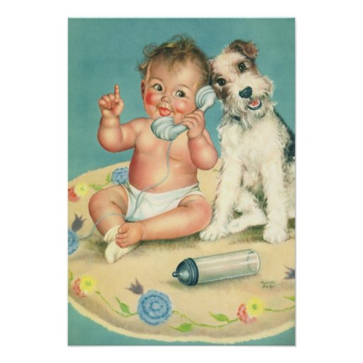 Vintage Cute Baby Talking on Phone Puppy Dog Posters