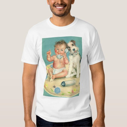 Vintage Cute Baby Talking on Phone Puppy Dog T-Shirt