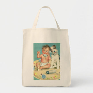 Vintage Cute Baby Talking on Phone Puppy Dog Tote Bag