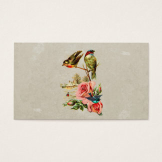Vintage Cute Birds & Roses Landscape Painting Business Card