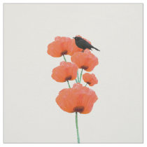 Vintage cute black bird orange poppy flowers fabric