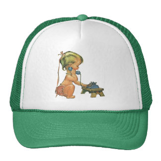 Vintage Cute Blond Girl Talking on Toy Phone Trucker Hat