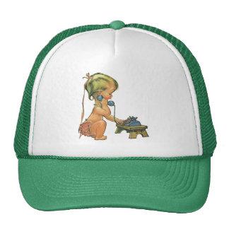 Vintage Cute Blond Girl Talking on Toy Phone Trucker Hat